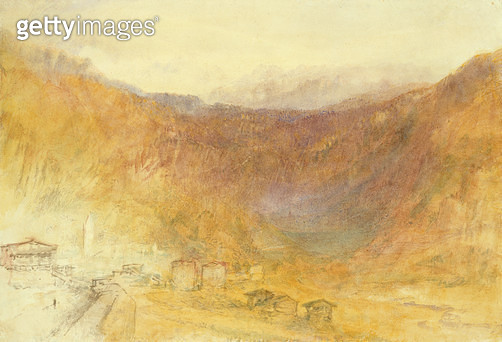 <b>Title</b> : The Brunig Pass from Meiringen, Switzerland (W/c on paper)<br><b>Medium</b> : watercolour on paper<br><b>Location</b> : Private Collection<br> - gettyimageskorea