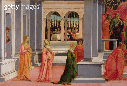 <b>Title</b> : Esther Chosen by King Ahasuerus, detail from the left hand side, c.1475-80 (tempera on panel)Additional InfoQueen Vashti sent fr<br><b>Medium</b> : tempera on panel<br><b>Location</b> : Musee Conde, Chantilly, France<br> - gettyimageskorea