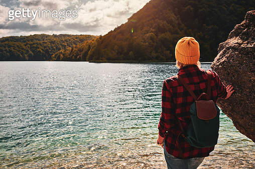 Tourist exploring Plitvice Lakes National Park - gettyimageskorea