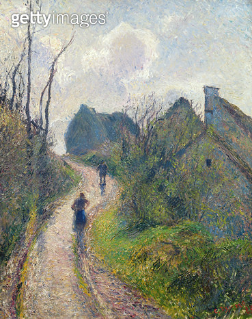 <b>Title</b> : Road climbing to Osny, 1883 (oil on canvas)<br><b>Medium</b> : oil on canvas<br><b>Location</b> : Musee des Beaux-Arts, Valenciennes, France<br> - gettyimageskorea
