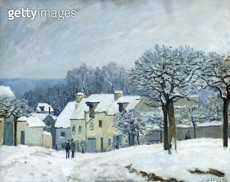 <b>Title</b> : The Place du Chenil at Marly-le-Roi, Snow, 1876 (oil on canvas)<br><b>Medium</b> : oil on canvas<br><b>Location</b> : Musee des Beaux-Arts, Rouen, France<br> - gettyimageskorea