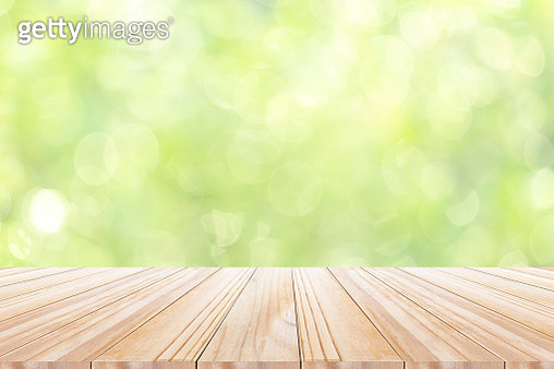 Empty of wood table top with blurred green  garden background for montage product display or design key visual layout - gettyimageskorea