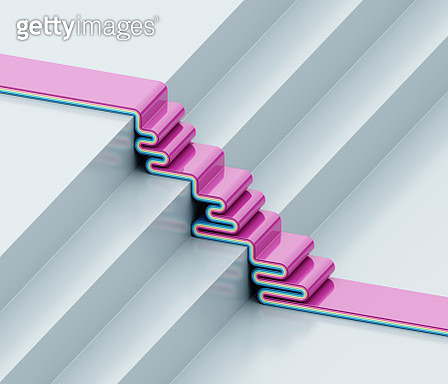Multicolored curved shapes on steps - gettyimageskorea
