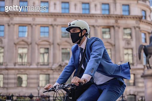 Portrait of executive commuting to work in time of COVID-19 - gettyimageskorea