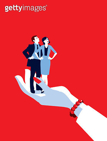 Giant Businesswoman's Hand Holding Tiny Businesswoman and Man - gettyimageskorea