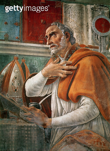 <b>Title</b> : St. Augustine in his Cell, c.1480 (fresco) (detail of 29143)<br><b>Medium</b> : fresco<br><b>Location</b> : Ognissanti, Florence, Italy<br> - gettyimageskorea