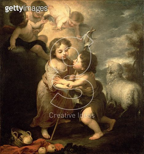 <b>Title</b> : The Infants Christ and John the Baptist (oil on canvas)<br><b>Medium</b> : oil on canvas<br><b>Location</b> : Hermitage, St. Petersburg, Russia<br> - gettyimageskorea
