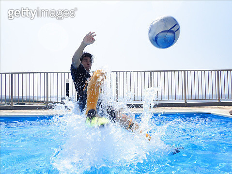 To learn an overhead kick in the blue rooftop pool - gettyimageskorea