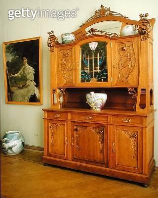 <b>Title</b> : Art Nouveau Dresser, c.1910 (wood & glass)<br><b>Medium</b> : wood and glass<br><b>Location</b> : Hermitage, St. Petersburg, Russia<br> - gettyimageskorea