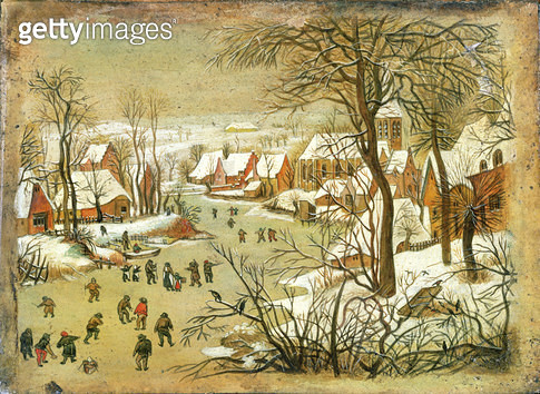 <b>Title</b> : Winter Landscape with figures on a Frozen River<br><b>Medium</b> : <br><b>Location</b> : Private Collection<br> - gettyimageskorea