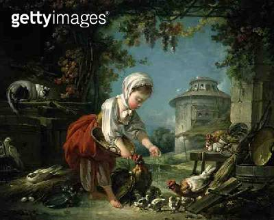 <b>Title</b> : The Little Farm Maid, 1752 (oil on canvas)<br><b>Medium</b> : oil on canvas<br><b>Location</b> : Private Collection<br> - gettyimageskorea