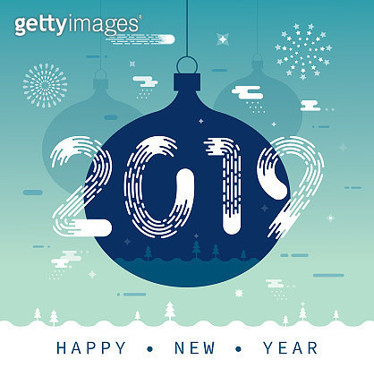 New Year 2019 Greeting With Christmas Ornaments - gettyimageskorea