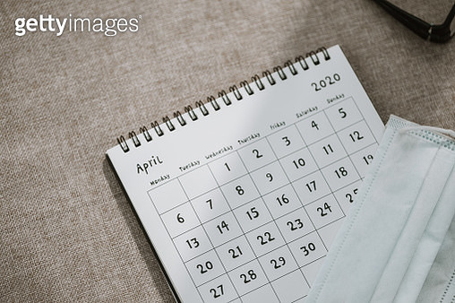 april calendar with protective mask.Lockdown - gettyimageskorea