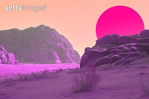 Surreal colorful landscape with vivid colors and big sunset sun. - gettyimageskorea