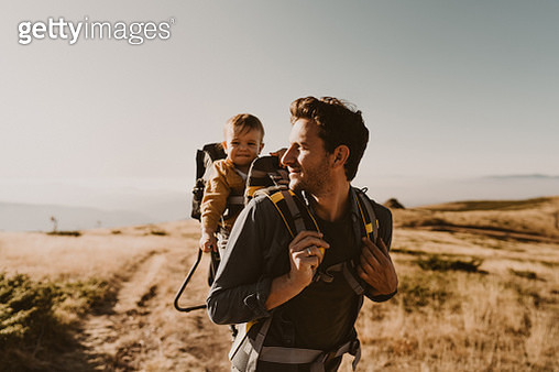 Dad and baby boy during the hike adventure - gettyimageskorea