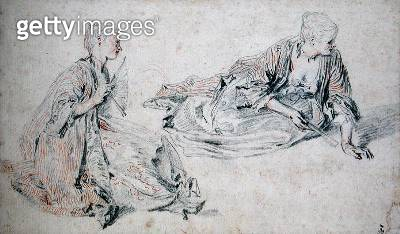 <b>Title</b> : Two Studies of a Seated Woman Holding a Fan, c.1717 (pencil & red chalk on paper)Additional InfoDeux etudes d'une femme assise a<br><b>Medium</b> : pencil and red chalk on paper<br><b>Location</b> : Musee Conde, Chantilly, France<br> - gettyimageskorea