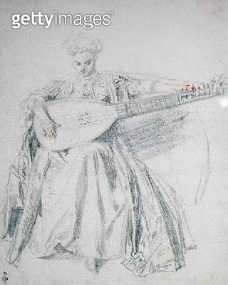 <b>Title</b> : Seated Young Woman Tuning a Lute, c.1715 (pencil & red chalk on paper)Additional InfoJeune Femme Assise Accordant un Luth;<br><b>Medium</b> : pencil and red chalk on paper<br><b>Location</b> : Musee Conde, Chantilly, France<br> - gettyimageskorea