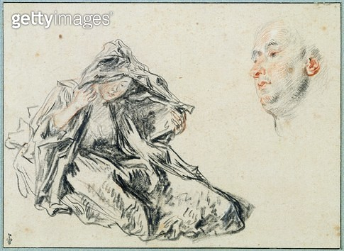 <b>Title</b> : Seated Woman Wearing a Veil and the Head of a Man, c.1717-18 (pencil & red chalk on paper)Additional InfoJeune Femme Assise a Te<br><b>Medium</b> : pencil and red chalk on paper<br><b>Location</b> : Musee Conde, Chantilly, France<br> - gettyimageskorea