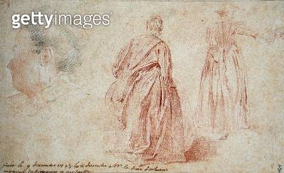 <b>Title</b> : Rear View of Two Women and the Head of a Woman, 1723 (pencil & red chalk on paper)Additional InfoDeux Femmes Vues de Dos et Tete<br><b>Medium</b> : pencil and red chalk on paper<br><b>Location</b> : Musee Conde, Chantilly, France<br> - gettyimageskorea