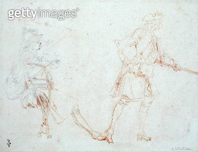 <b>Title</b> : Studies of Two Soldiers, c.1712 (pencil and red chalk on paper)Additional InfoDeux Soldats, l'un Assis et Buvan, l'autre Debout<br><b>Medium</b> : pencil and red chalk on paper<br><b>Location</b> : Musee Conde, Chantilly, France<br> - gettyimageskorea