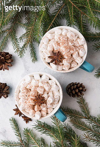 Two mugs of hot chocolate with marshmallows. Hot cocoa in cups and branches of a Christmas tree. - gettyimageskorea