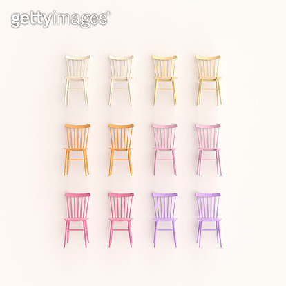 grid of colorful chairs - gettyimageskorea
