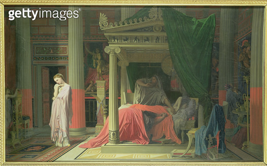 <b>Title</b> : Antiochus and Stratonice, 1840 (oil on canvas)Additional Infoson of Seleucus I Nicator; fell in love with his stepmother, Strato<br><b>Medium</b> : oil on canvas<br><b>Location</b> : Musee Conde, Chantilly, France<br> - gettyimageskorea