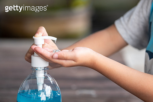 Child Hands Using Wash Hand Sanitizer Gel. - gettyimageskorea