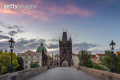 Charles bridge with old town bridge tower with beautiful sunset or sunrise sky in Prague at Czech Republic, Europe - gettyimageskorea