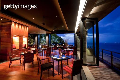 restaurant in paresa hotel phuket thailand at dusk - gettyimageskorea