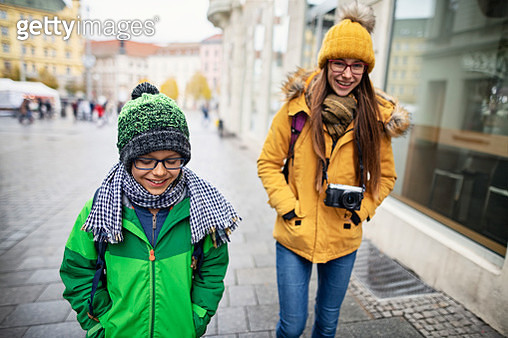 Brother and sister sightseeing city of Brno. Sightseeing is fun even in the bad weather!Nikon D850 - gettyimageskorea