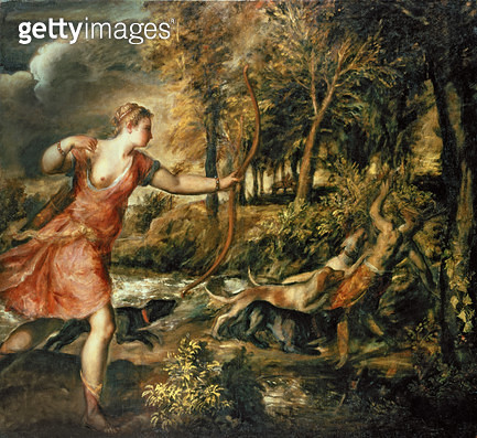 <b>Title</b> : The Death of Actaeon, c.1565 (oil on canvas)<br><b>Medium</b> : oil on canvas<br><b>Location</b> : National Gallery, London, UK<br> - gettyimageskorea