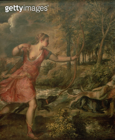 <b>Title</b> : The Death of Actaeon, detail of Diana, c.1565 (oil on canvas) (detail of 28850)<br><b>Medium</b> : <br><b>Location</b> : National Gallery, London, UK<br> - gettyimageskorea