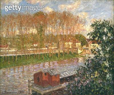 <b>Title</b> : Sunset at Moret-sur-Loing, 1901 (oil on canvas)<br><b>Medium</b> : oil on canvas<br><b>Location</b> : Private Collection<br> - gettyimageskorea