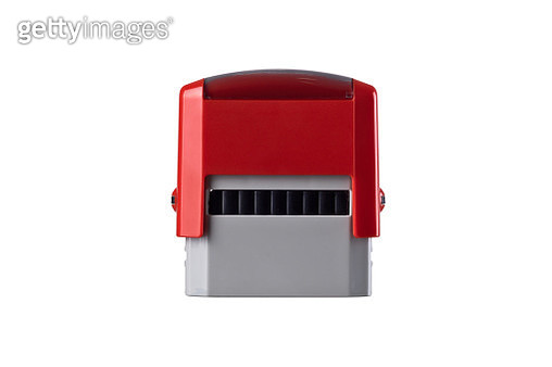 Automatic Rubber Stamp on White Background. - gettyimageskorea