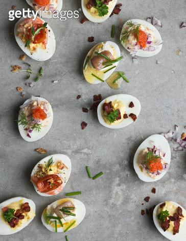 Stuffed eggs on grey background, Sweden - gettyimageskorea