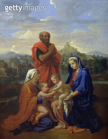 <b>Title</b> : The Holy Family with St. John, St. Elizabeth and St. Joseph Praying, 1656 (oil on canvas)<br><b>Medium</b> : oil on canvas<br><b>Location</b> : Louvre, Paris, France<br> - gettyimageskorea