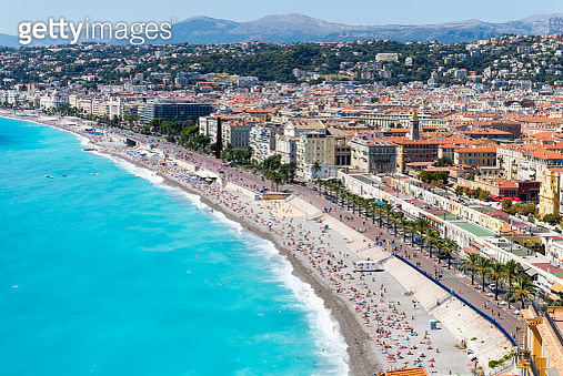 Cityscape view with coastline and beach, Nice, Cote dAzur, France - gettyimageskorea