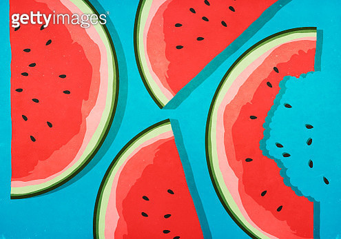Juicy watermelon slices on blue background - gettyimageskorea