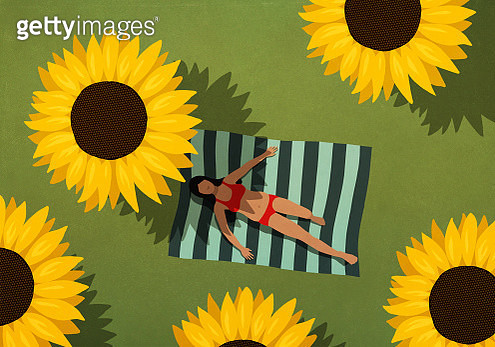 Woman in bikini sunbathing on blanket among large sunflowers - gettyimageskorea