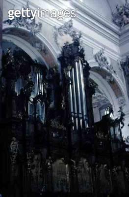 <b>Title</b> : Church organ, 18th century<br><b>Medium</b> : <br><b>Location</b> : Benedictine Abbey Church, Ottobeuren, Germany<br> - gettyimageskorea