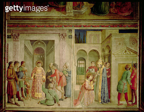 St.Lawrence receiving the Treasures of the Church and St.Lawrence distributing alms - gettyimageskorea