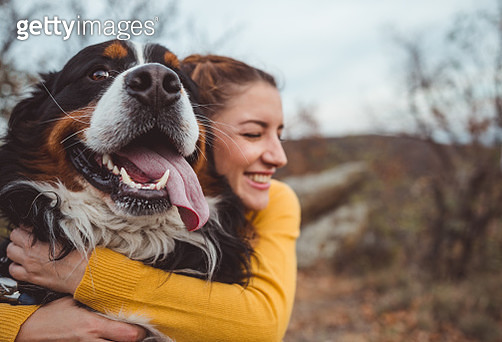 Young woman with dog - gettyimageskorea