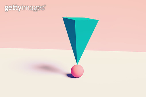 Digital picture of geometric volumes in impossible balance stack one on each other. - gettyimageskorea