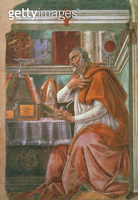 <b>Title</b> : St.Augustine in his Cell, c.1480 (fresco)<br><b>Medium</b> : <br><b>Location</b> : Ognissanti, Florence, Italy<br> - gettyimageskorea