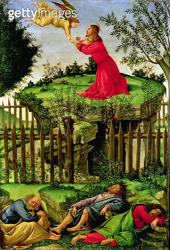 <b>Title</b> : The Agony in the Garden, c.1500 (oil on canvas)<br><b>Medium</b> : oil on canvas<br><b>Location</b> : Capilla Real, Granada, Spain<br> - gettyimageskorea