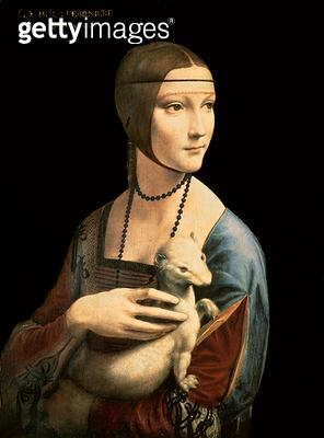 <b>Title</b> : The Lady with the Ermine (Cecilia Gallerani) 1496 (oil on walnut panel)Additional Infolooted by Nazis from Czartoryski Collectio<br><b>Medium</b> : oil on walnut panel<br><b>Location</b> : Czartoryski Museum, Cracow, Poland<br> - gettyimageskorea