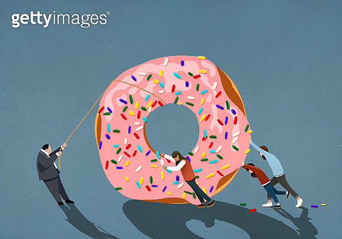 Family helping businessman pulling large donut - gettyimageskorea