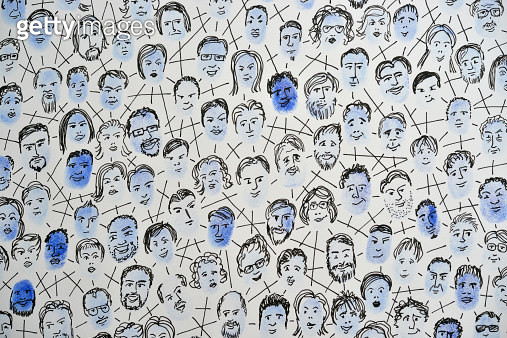 Connected fingerprints with faces drawn on them - gettyimageskorea