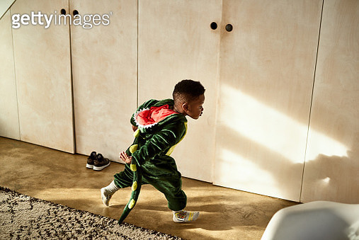Small boy wearing dragon outfit, playing at home, chasing, rushing, carefree - gettyimageskorea